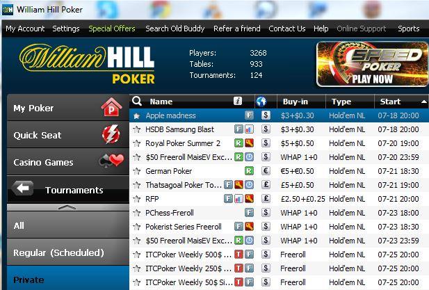 William hill poker calendrier